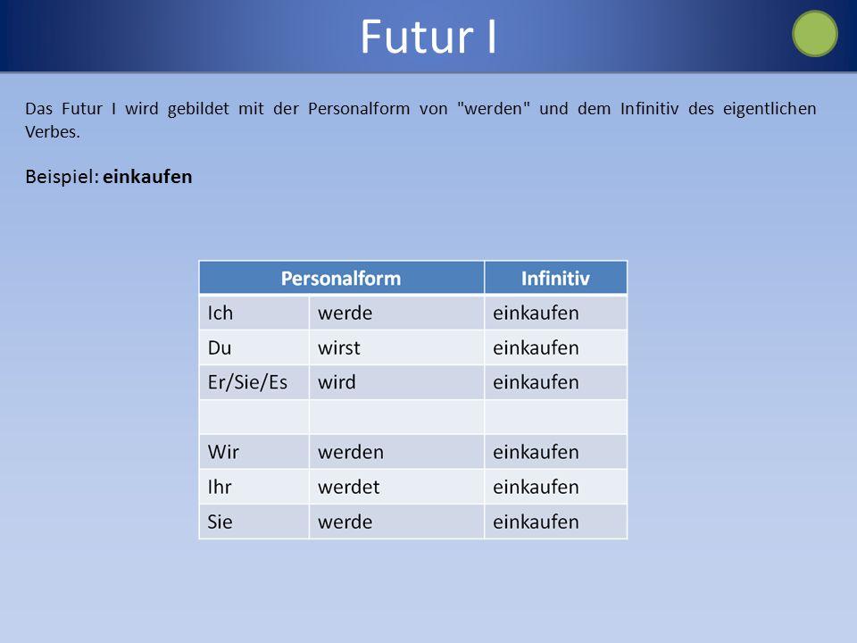 Futur I Das Futur I wird gebildet mit der Personalform von werden und dem Infinitiv des eigentlichen Verbes.