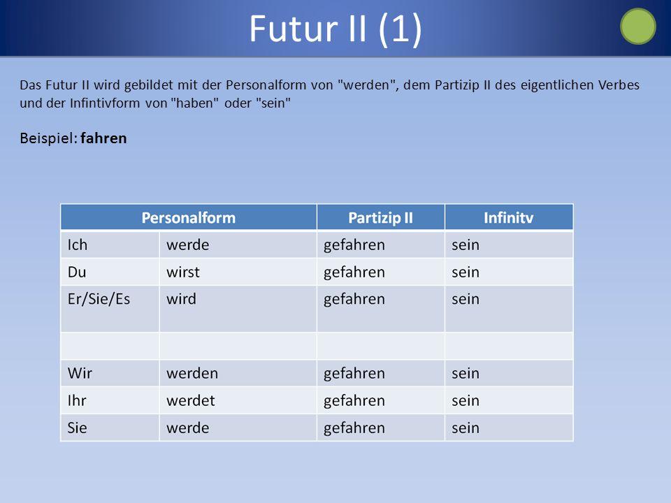 Futur II (1) Das Futur II wird gebildet mit der Personalform von werden , dem Partizip II des eigentlichen Verbes und der Infintivform von haben oder sein Beispiel: fahren