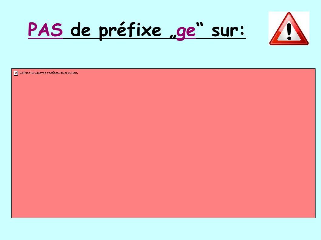"""PAS de préfixe """"ge"""" sur:"""