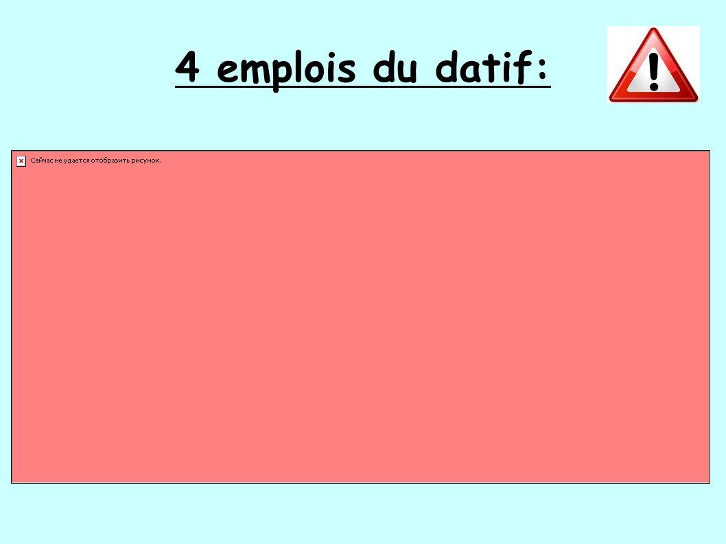 4 emplois du datif:
