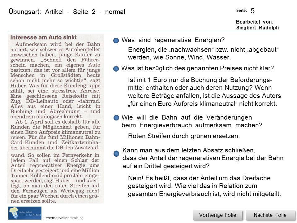 Übungsart: Titel: Quelle: Seite: Bearbeitet von: Siegbert Rudolph Lesemotivationstraining Artikel - Seite 2 - normal Titel: Quelle: Nächste Folie Vorherige Folie Wer ist der DB-Vorstand für den Fernverkehr.