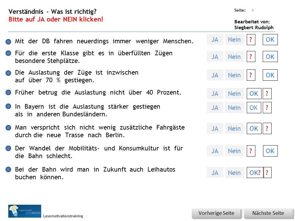 Übungsart: Titel: Quelle: Seite: Bearbeitet von: Siegbert Rudolph Lesemotivationstraining Lesequatsch Nächste Folie Vorherige Folie Die Bahn wartet händezwingend auf neue Fahrzeuge.