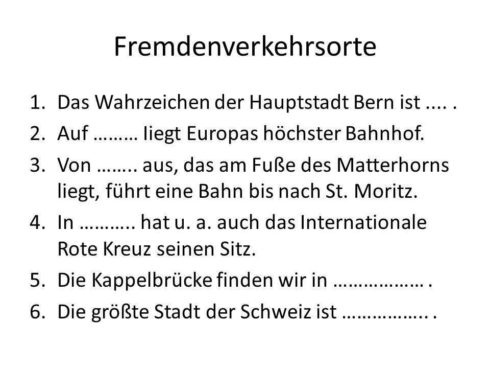 Quiz 1.In einer der folgenden Städte gibt es keine Universität: a)Luzern b) Lausanne c) Bern 2.Die zweitgrößte Stadt der Schweiz ist: a) Bern b) Basel c) Genf 3.Neutrale Länder sind: a) die BRD und die Schweiz b) Österreich und die BRD c) die Schweiz und Österreich 4.Paracelsus war: a) Maler b) Schriftsteller c) Arzt