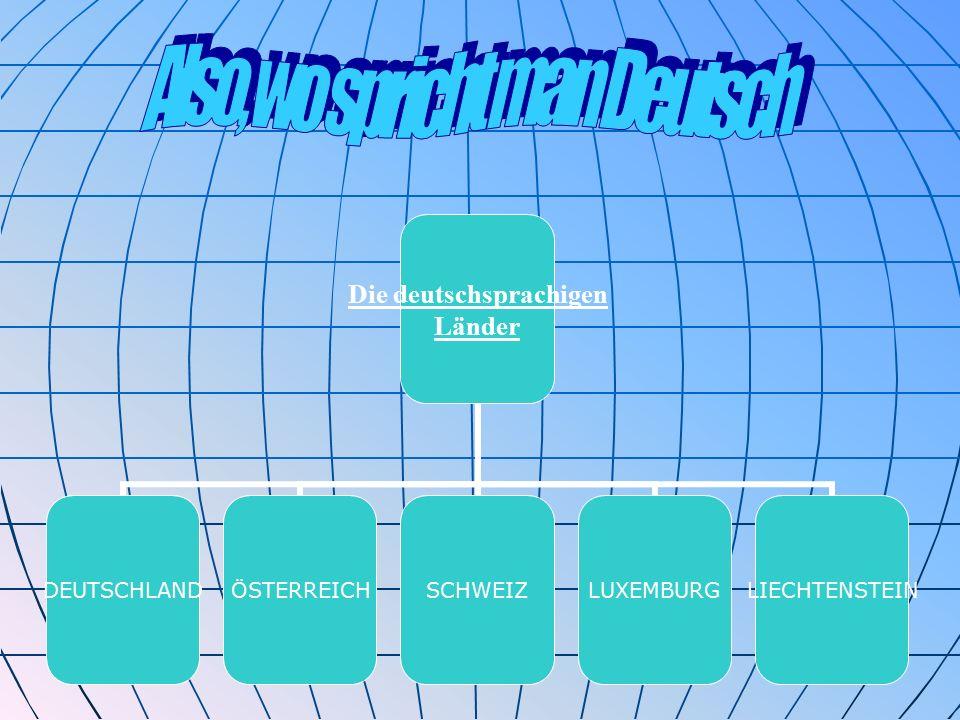 Die deutschsprachigen Länder DEUTSCHLANDÖSTERREICHSCHWEIZLUXEMBURGLIECHTENSTEIN