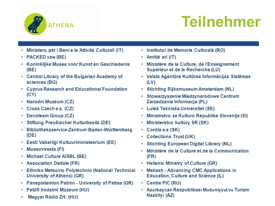 Teilnehmer Ministero per i Beni e le Attività Culturali (IT) PACKED vzw (BE) Koninklijke Musea voor Kunst en Geschiedenis (BE) Central Library of the Bulgarian Academy of sciences (BG) Cyprus Research and Educational Foundation (CY) Narodni Muzeum (CZ) Cross Czech a.s.
