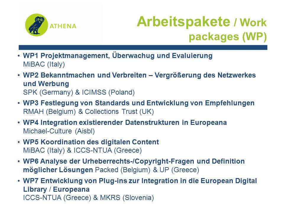 WP1 Projektmanagement, Überwachug und Evaluierung MiBAC (Italy) WP2 Bekanntmachen und Verbreiten – Vergrößerung des Netzwerkes und Werbung SPK (Germany) & ICIMSS (Poland) WP3 Festlegung von Standards und Entwicklung von Empfehlungen RMAH (Belgium) & Collections Trust (UK) WP4 Integration existierender Datenstrukturen in Europeana Michael-Culture (Aisbl) WP5 Koordination des digitalen Content MiBAC (Italy) & ICCS-NTUA (Greece) WP6 Analyse der Urheberrechts-/Copyright-Fragen und Definition möglicher Lösungen Packed (Belgium) & UP (Greece) WP7 Entwicklung von Plug-ins zur Integration in die European Digital Library / Europeana ICCS-NTUA (Greece) & MKRS (Slovenia) Arbeitspakete / Work packages (WP)