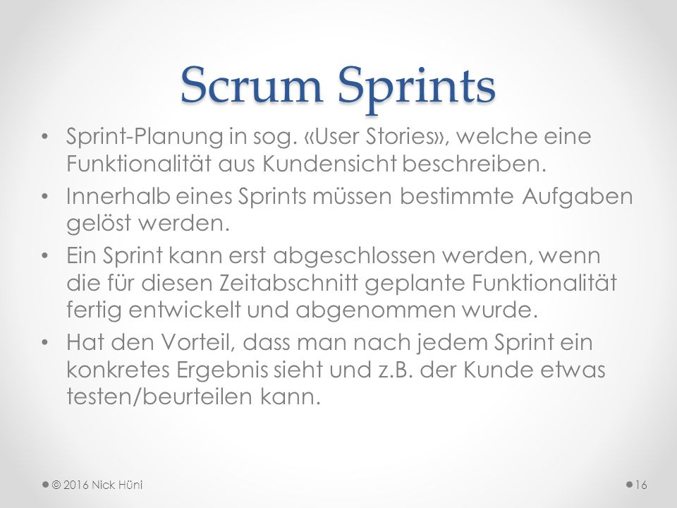 Scrum Sprints Sprint-Planung in sog.