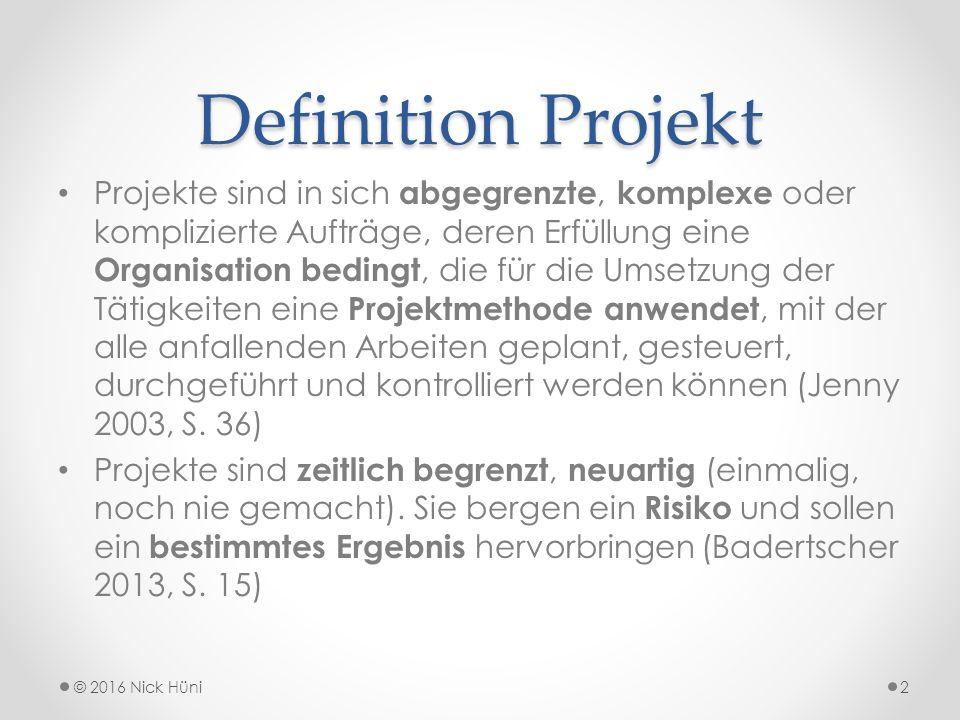Definition Projekt Projekte sind in sich abgegrenzte, komplexe oder komplizierte Aufträge, deren Erfüllung eine Organisation bedingt, die für die Umsetzung der Tätigkeiten eine Projektmethode anwendet, mit der alle anfallenden Arbeiten geplant, gesteuert, durchgeführt und kontrolliert werden können (Jenny 2003, S.