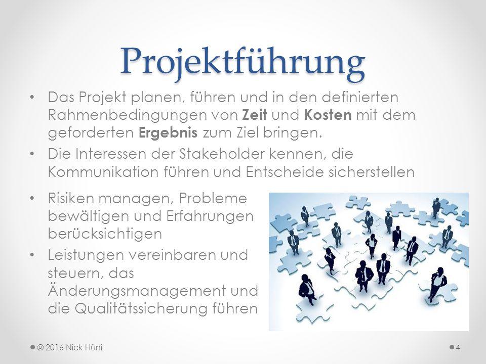 Scrum © 2016 Nick Hüni15 Scrum Rollen: Product Owner: Trägt die Verantwortung des Projektergebnisses Scrum Entwicklerteam: Realisiert das Projektergebnis Scrum Master: Stellt sicher, dass die Regeln des Scrum-Verfahrens eingehalten werden.