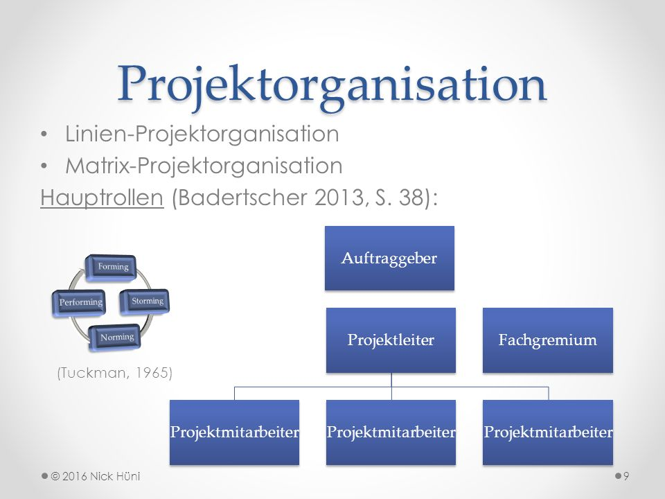 Projektorganisation Linien-Projektorganisation Matrix-Projektorganisation Hauptrollen (Badertscher 2013, S.