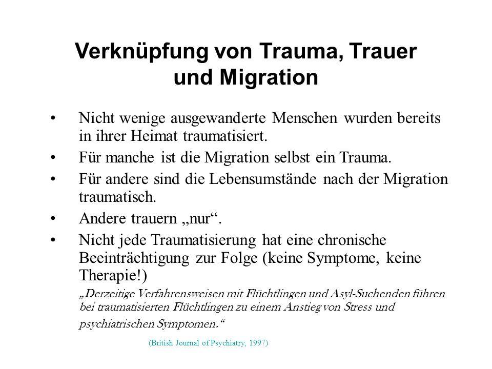 Verknüpfung von Trauma, Trauer und Migration Nicht wenige ausgewanderte Menschen wurden bereits in ihrer Heimat traumatisiert.