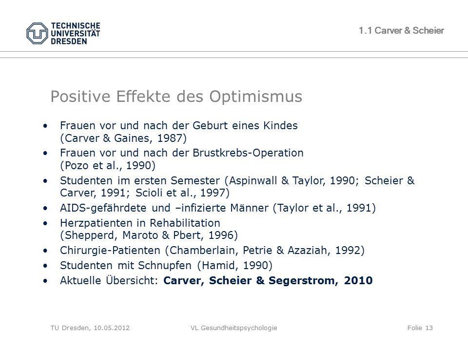 TU Dresden, 10.05.2012VL GesundheitspsychologieFolie 13 Positive Effekte des Optimismus Frauen vor und nach der Geburt eines Kindes (Carver & Gaines,