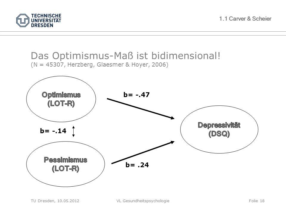 TU Dresden, 10.05.2012VL GesundheitspsychologieFolie 18 1.1 Carver & Scheier Das Optimismus-Maß ist bidimensional! (N = 45307, Herzberg, Glaesmer & Ho