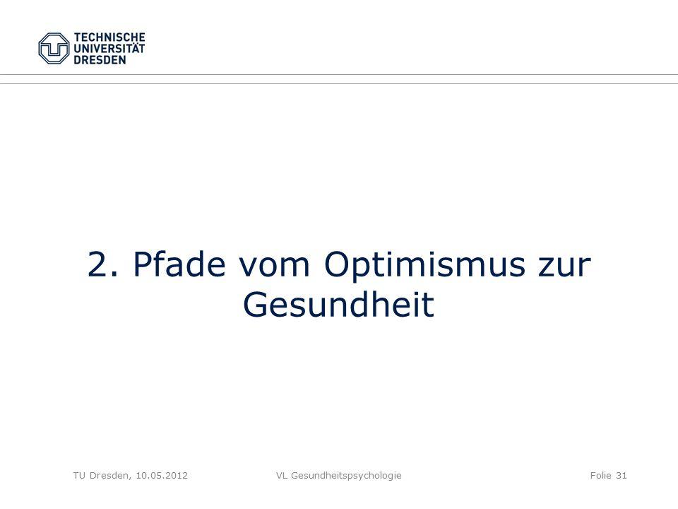 TU Dresden, 10.05.2012VL GesundheitspsychologieFolie 31 2. Pfade vom Optimismus zur Gesundheit