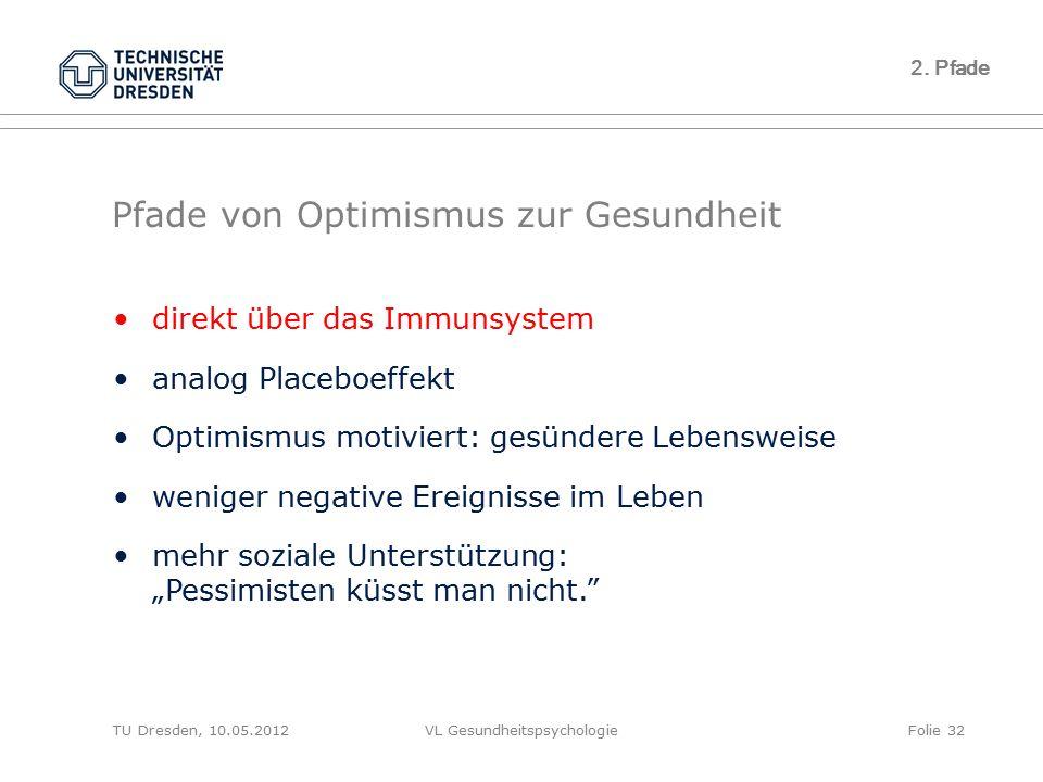 TU Dresden, 10.05.2012VL GesundheitspsychologieFolie 32 2. Pfade Pfade von Optimismus zur Gesundheit direkt über das Immunsystem analog Placeboeffekt