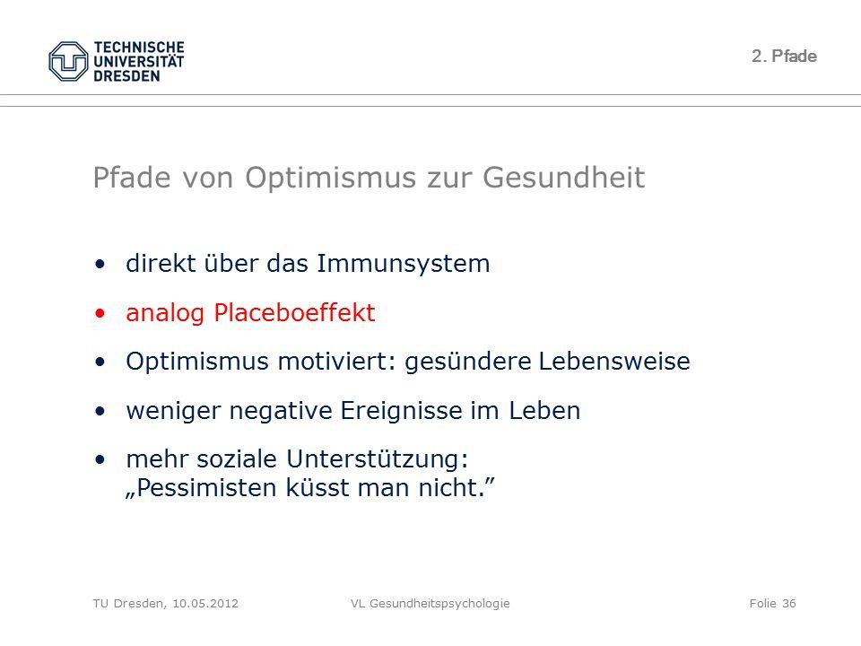 TU Dresden, 10.05.2012VL GesundheitspsychologieFolie 36 2. Pfade Pfade von Optimismus zur Gesundheit direkt über das Immunsystem analog Placeboeffekt