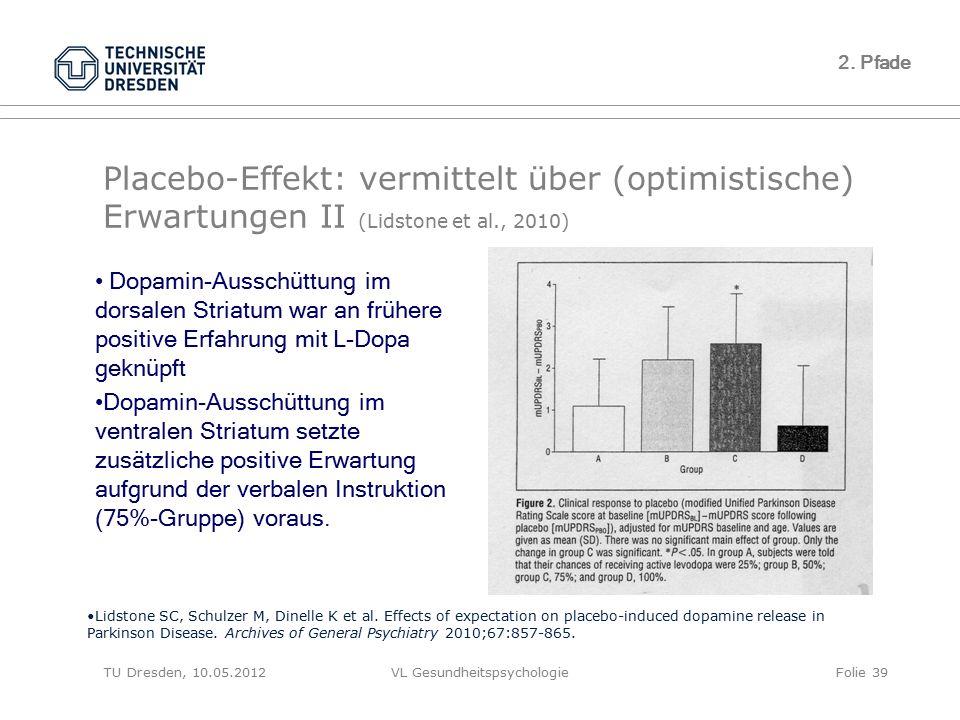 TU Dresden, 10.05.2012VL GesundheitspsychologieFolie 39 Placebo-Effekt: vermittelt über (optimistische) Erwartungen II (Lidstone et al., 2010) 2. Pfad