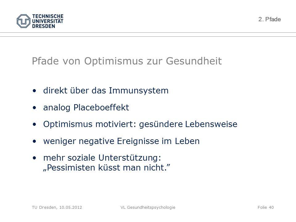 TU Dresden, 10.05.2012VL GesundheitspsychologieFolie 40 Pfade von Optimismus zur Gesundheit 2. Pfade direkt über das Immunsystem analog Placeboeffekt