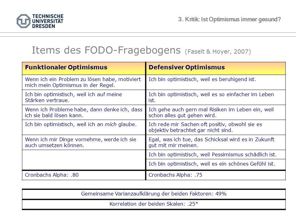 TU Dresden, 10.05.2012VL GesundheitspsychologieFolie 52 von XYZ 3. Kritik: Ist Optimismus immer gesund? Items des FODO-Fragebogens (Faselt & Hoyer, 20