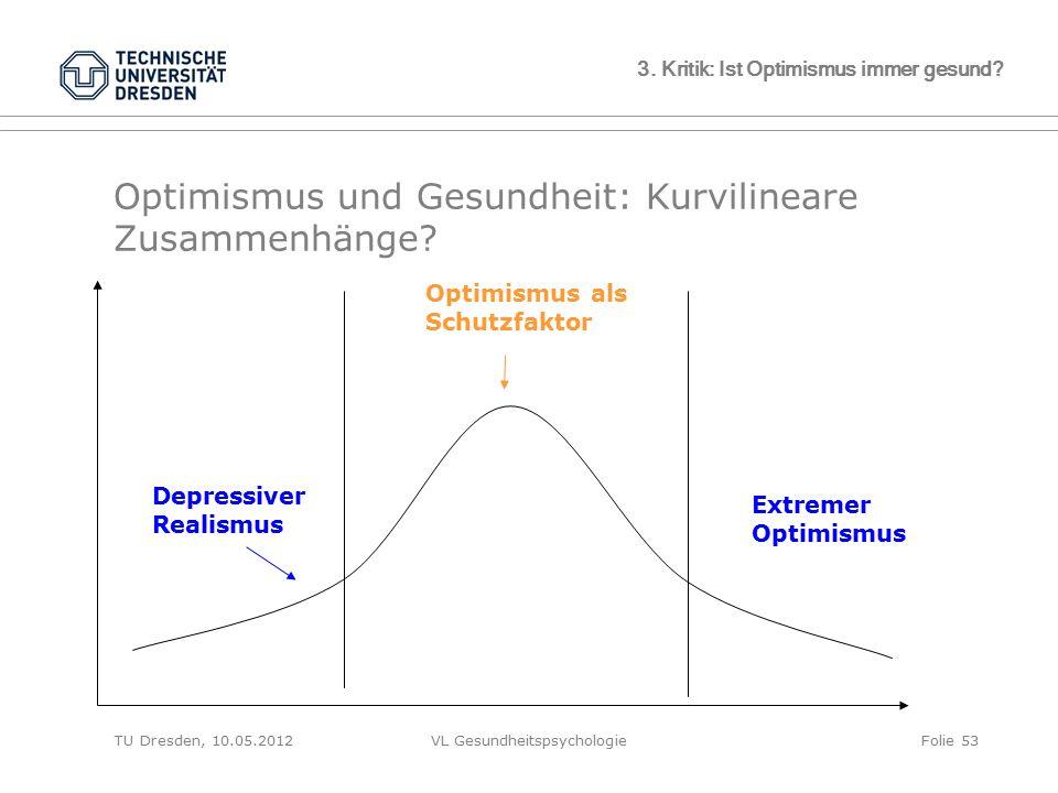 TU Dresden, 10.05.2012VL GesundheitspsychologieFolie 53 3. Kritik: Ist Optimismus immer gesund? Optimismus und Gesundheit: Kurvilineare Zusammenhänge?