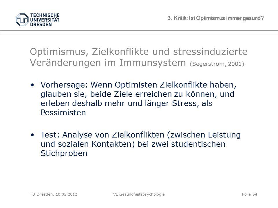 TU Dresden, 10.05.2012VL GesundheitspsychologieFolie 54 3. Kritik: Ist Optimismus immer gesund? Optimismus, Zielkonflikte und stressinduzierte Verände
