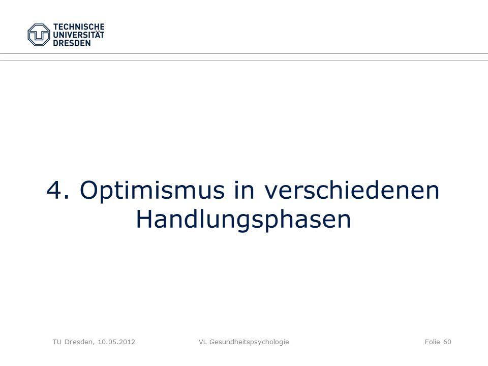 TU Dresden, 10.05.2012VL GesundheitspsychologieFolie 60 4. Optimismus in verschiedenen Handlungsphasen
