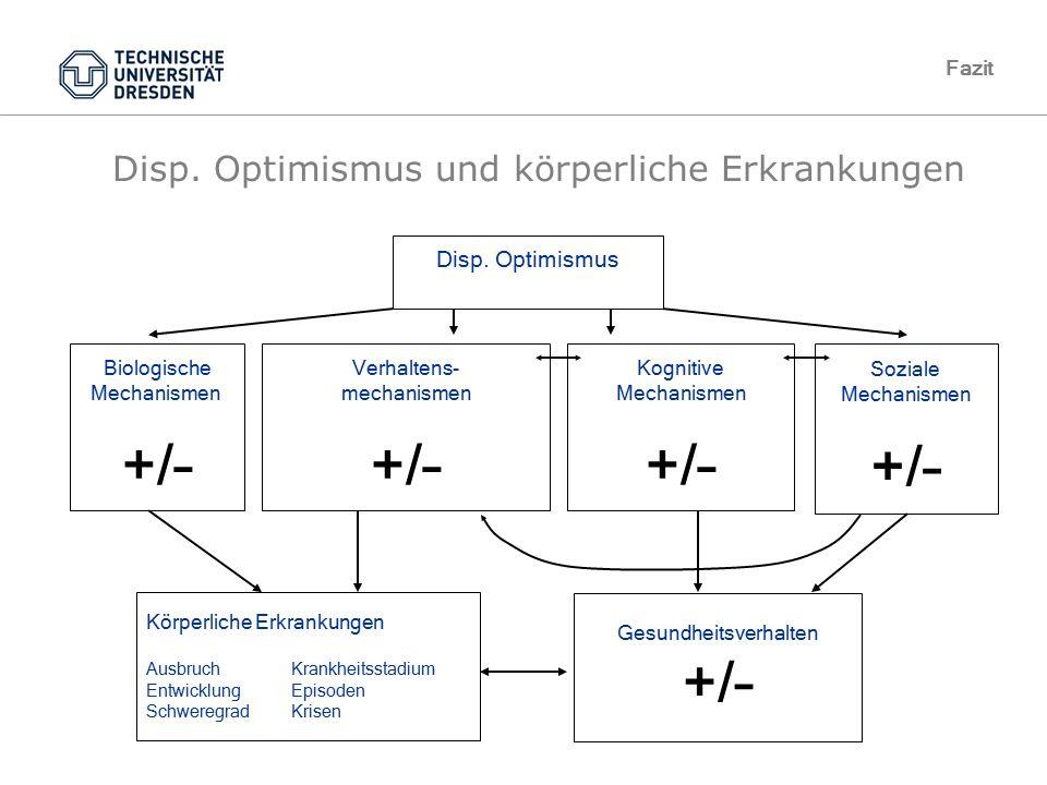 TU Dresden, 10.05.2012VL GesundheitspsychologieFolie 69 von XYZ10.05.2012Gesundheitspsychologie, TU Dresden Disp. Optimismus und körperliche Erkrankun