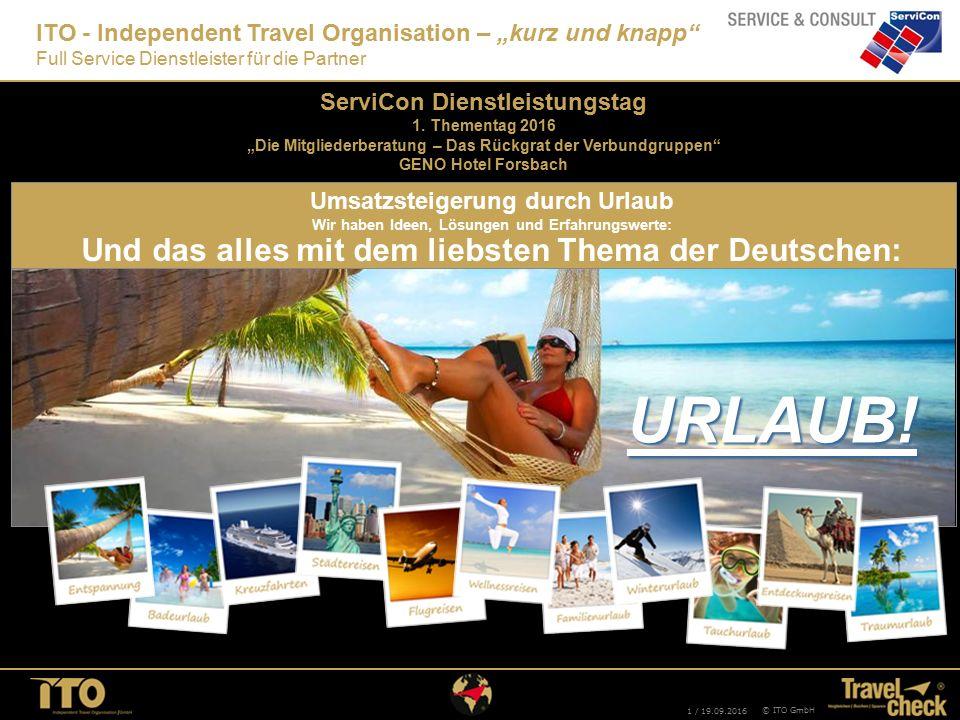 """1 / 19.09.2016 © ITO GmbH ITO - Independent Travel Organisation – """"kurz und knapp"""" Full Service Dienstleister für die Partner URLAUB! Und das alles mi"""