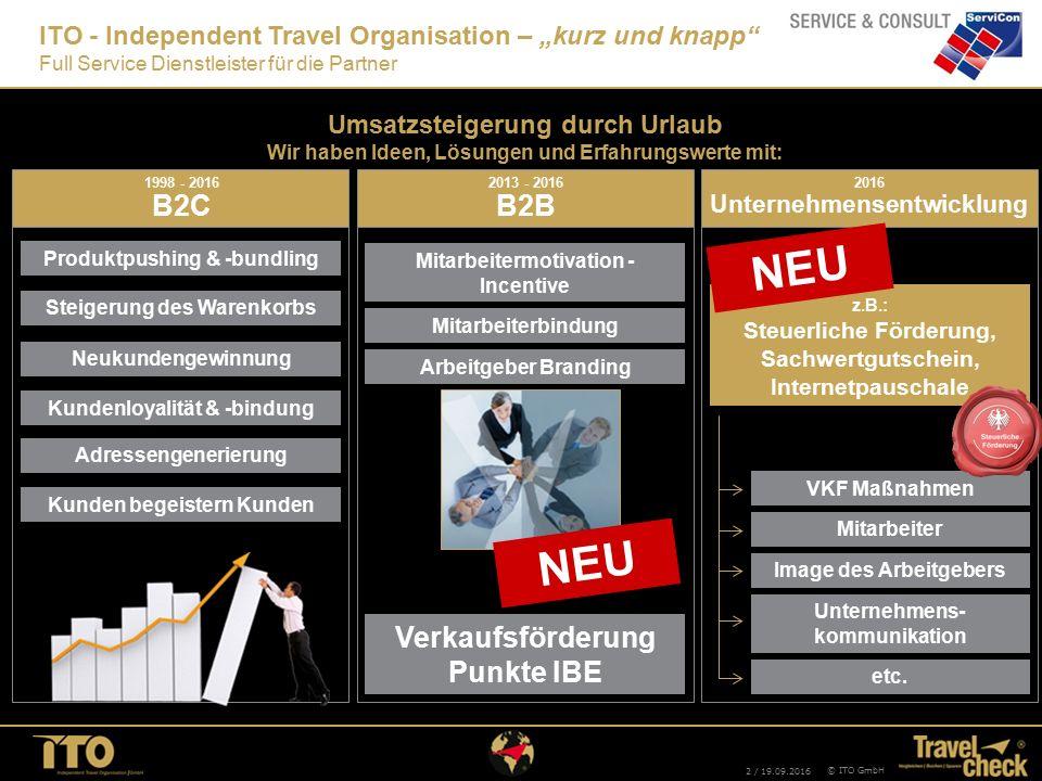 2 / 19.09.2016 © ITO GmbH 2013 - 2016 B2B Mitarbeitermotivation - Incentive Mitarbeiterbindung Arbeitgeber Branding Verkaufsförderung Punkte IBE NEU A