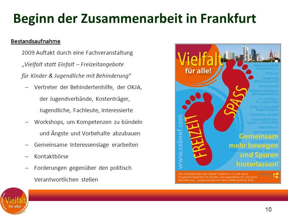 """10 Beginn der Zusammenarbeit in Frankfurt Bestandsaufnahme 2009 Auftakt durch eine Fachveranstaltung """"Vielfalt statt Einfalt – Freizeitangebote für Ki"""