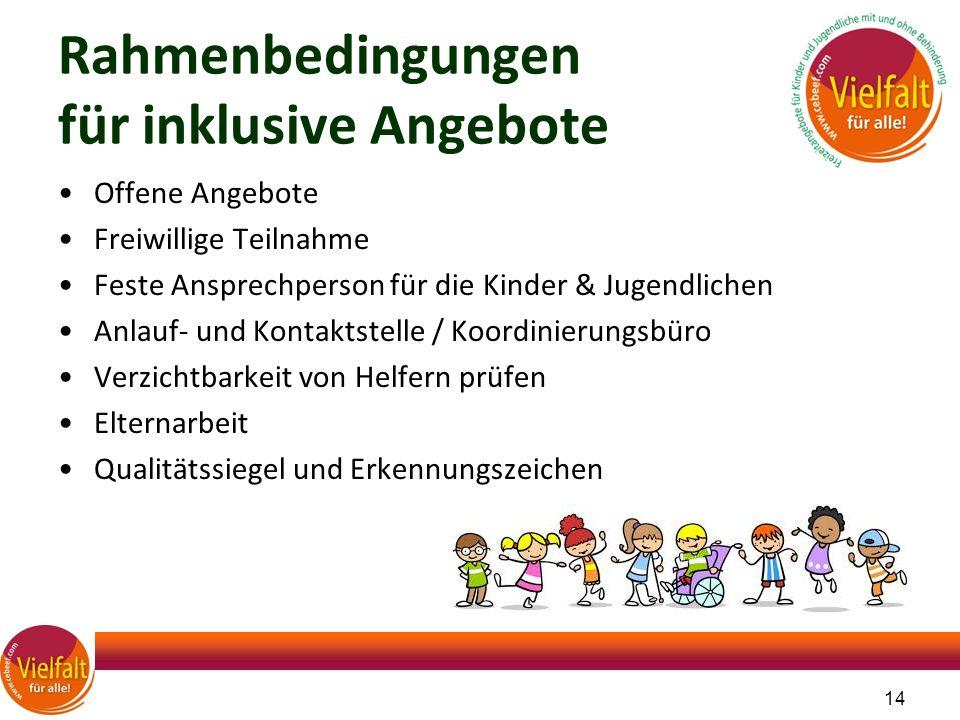 Rahmenbedingungen für inklusive Angebote Offene Angebote Freiwillige Teilnahme Feste Ansprechperson für die Kinder & Jugendlichen Anlauf- und Kontakts