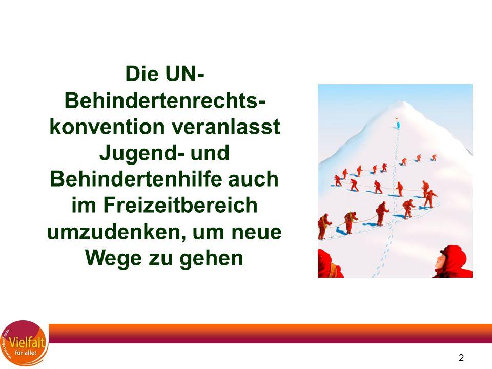 2 Die UN- Behindertenrechts- konvention veranlasst Jugend- und Behindertenhilfe auch im Freizeitbereich umzudenken, um neue Wege zu gehen