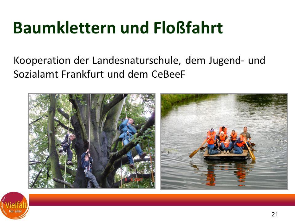 21 Baumklettern und Floßfahrt Kooperation der Landesnaturschule, dem Jugend- und Sozialamt Frankfurt und dem CeBeeF