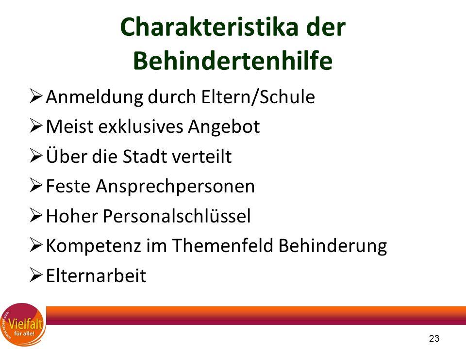 Charakteristika der Behindertenhilfe  Anmeldung durch Eltern/Schule  Meist exklusives Angebot  Über die Stadt verteilt  Feste Ansprechpersonen  H
