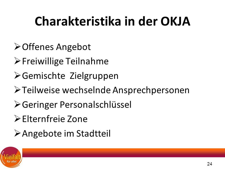 Charakteristika in der OKJA  Offenes Angebot  Freiwillige Teilnahme  Gemischte Zielgruppen  Teilweise wechselnde Ansprechpersonen  Geringer Perso