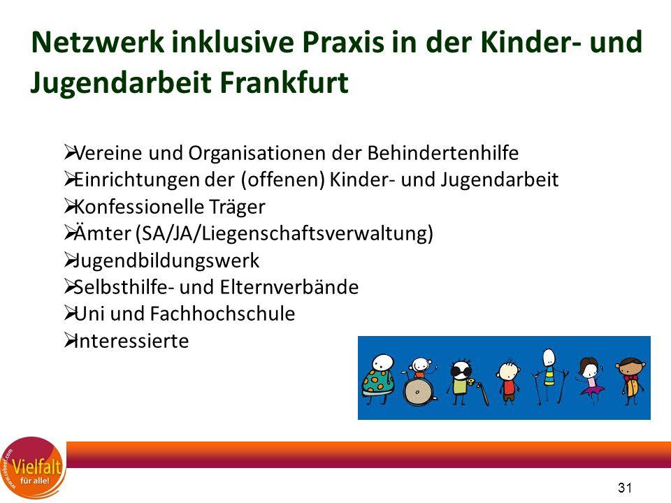 31 Netzwerk inklusive Praxis in der Kinder- und Jugendarbeit Frankfurt  Vereine und Organisationen der Behindertenhilfe  Einrichtungen der (offenen)