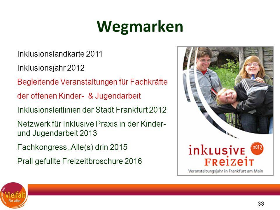 33 Wegmarken Inklusionslandkarte 2011 Inklusionsjahr 2012 Begleitende Veranstaltungen für Fachkräfte der offenen Kinder- & Jugendarbeit Inklusionsleit