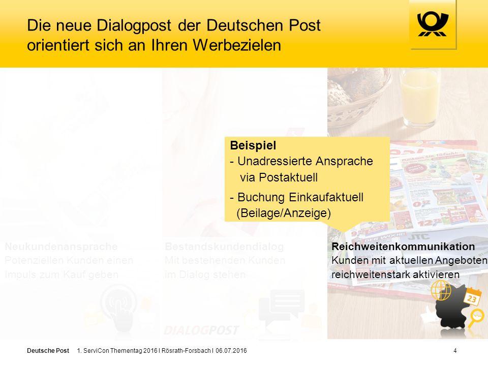 Deutsche Post Die neue Dialogpost der Deutschen Post orientiert sich an Ihren Werbezielen 4 Bestandskundendialog Mit bestehenden Kunden im Dialog stehen Reichweitenkommunikation Kunden mit aktuellen Angeboten reichweitenstark aktivieren Neukundenansprache Potenziellen Kunden einen Impuls zum Kauf geben 1.