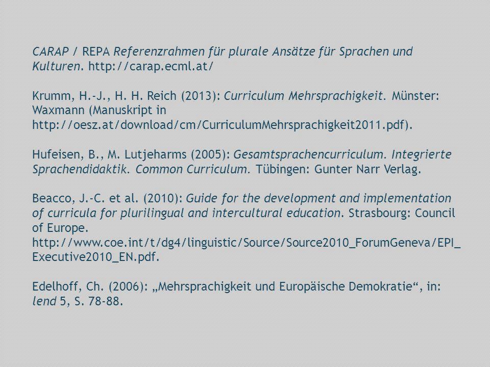 CARAP / REPA Referenzrahmen für plurale Ansätze für Sprachen und Kulturen.