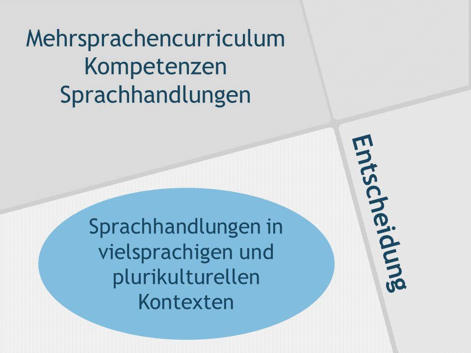Entscheidung Mehrsprachencurriculum Kompetenzen Sprachhandlungen Sprachhandlungen in vielsprachigen und plurikulturellen Kontexten