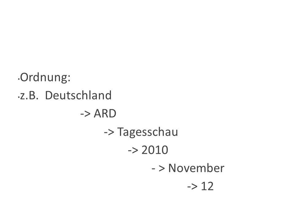 Wie Ordnung: z.B. Deutschland -> ARD -> Tagesschau -> 2010 - > November -> 12