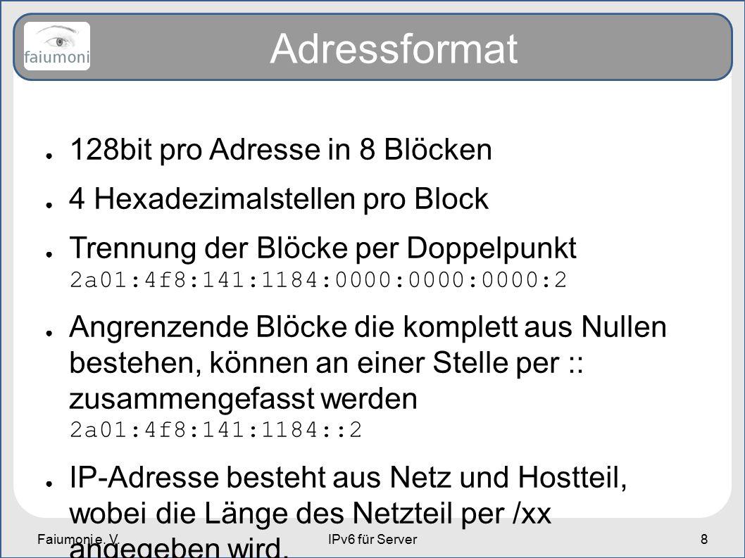 Faiumoni e. V.IPv6 für Server8 Adressformat ● 128bit pro Adresse in 8 Blöcken ● 4 Hexadezimalstellen pro Block ● Trennung der Blöcke per Doppelpunkt 2
