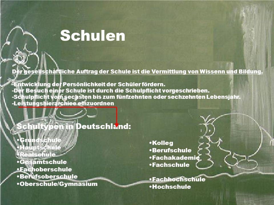 Schultypen in Deutschland: Grundschule Hauptschule Realschule Gesamtschule Fachoberschule Berufsoberschule Oberschule/Gymnasium Der gesellschaftliche Auftrag der Schule ist die Vermittlung von Wissenn und Bildung.
