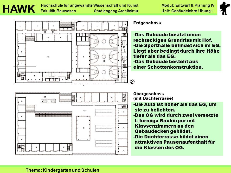 Erdgeschoss Obergeschoss (mit Dachterrasse) -Das Gebäude besitzt einen rechteckigen Grundriss mit Hof. -Die Sporthalle befindet sich im EG, Liegt aber