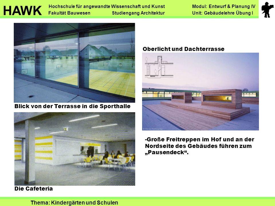 Blick von der Terrasse in die Sporthalle Die Cafeteria Oberlicht und Dachterrasse Hochschule für angewandte Wissenschaft und Kunst Modul: Entwurf & Pl