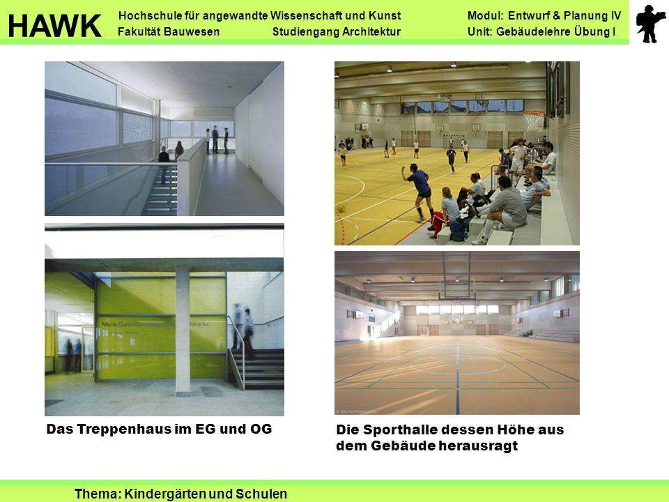 Das Treppenhaus im EG und OG Die Sporthalle dessen Höhe aus dem Gebäude herausragt Hochschule für angewandte Wissenschaft und Kunst Modul: Entwurf & P