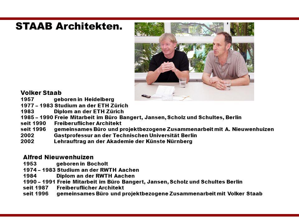 Volker Staab 1957 geboren in Heidelberg 1977 – 1983 Studium an der ETH Zürich 1983 Diplom an der ETH Zürich 1985 – 1990 Freie Mitarbeit im Büro Banger