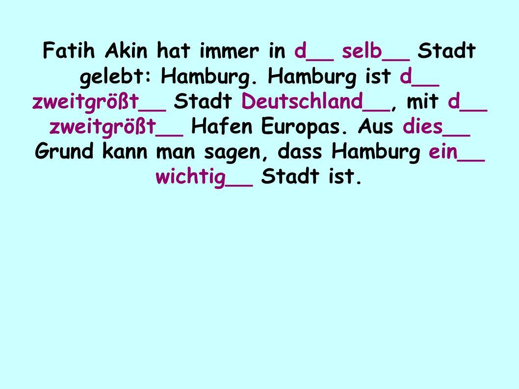 Fatih Akin hat immer in d__ selb__ Stadt gelebt: Hamburg.