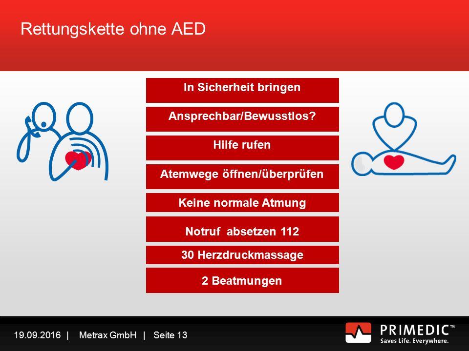 19.09.2016 | Metrax GmbH | Seite 12 NOTRUF 112 Rettungskette AED Generell gilt: Defibrillation geht vor Herzdruckmassage vor Beatmung Herzdruckmassage geht vor Beatmung