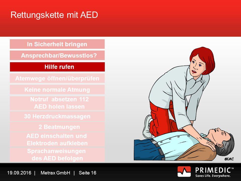 19.09.2016 | Metrax GmbH | Seite 15 Rettungskette mit AED In Sicherheit bringen Ansprechbar/Bewusstlos.